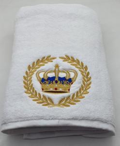 Prosop baie Brodat Coroana Royal , bumbac 100%, alb, 70x140cm - 650gr/mp