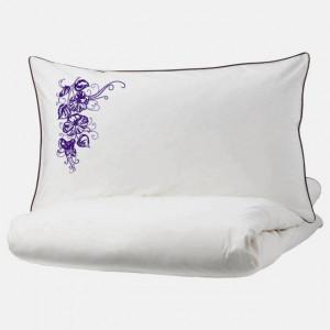 Lenjerie Ranforce -145 gr/mp - Pat Dublu cu Fete de perna brodate - Model floral 1 - mov 2