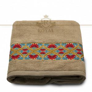 Prosop baie brodat, Bordura Florala, bumbac 100%, alb, 70x140cm - 650gr/mp
