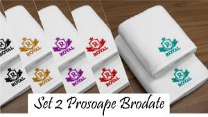 Set 2 Prosoape baie Brodate, Model Royal, Prosoape HOTEL, bumbac 100%, alb, 70x140cm+50x90cm-650gr/mp