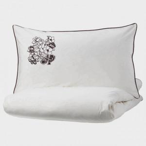 Lenjerie Ranforce -145 gr/mp - Pat Dublu cu Fete de perna brodate - Model floral 2 - Gri