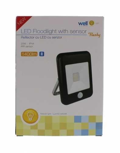 Proiector LED cu senzor 20W 1400lm IP44 4000K negru Well