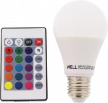 BEC CU LED A60 E27 4W 230V LUMINA RGB TELECOMANDA WELL