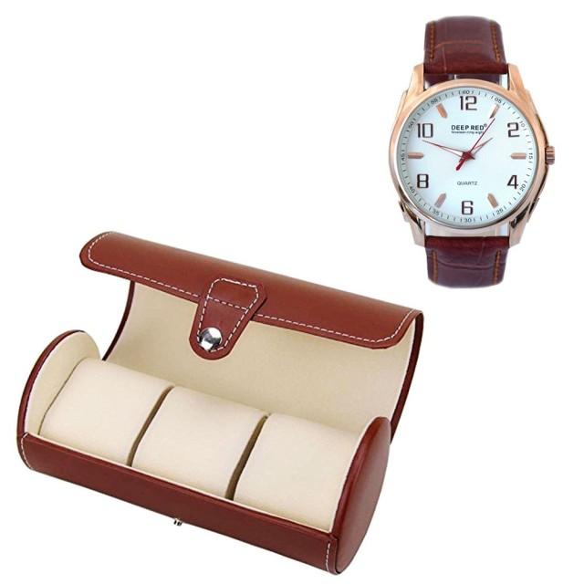 Pachet cutie caseta depozitare si transport din piele ecologica pentru 3 ceasuri + 1 ceas barbatesc elegant DEEP RED curea maro Pufo