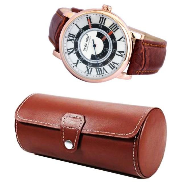Pachet cutie caseta depozitare si transport din piele ecologica pentru 3 ceasuri + 1 ceas barbatesc elegant DEEP RED cifre romane curea maro Pufo