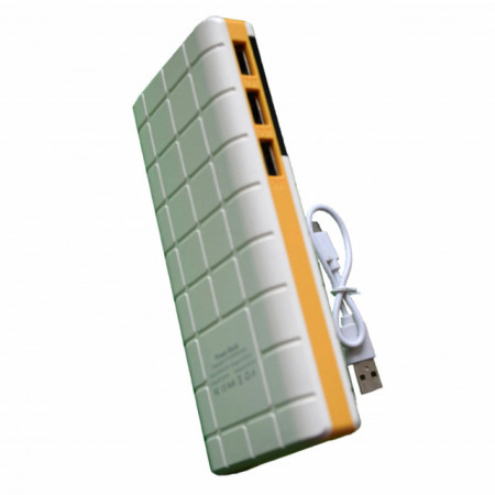 Acumulator extern 20000 mAh, 3 porturi USB, LED, lanterna, alb cu galben