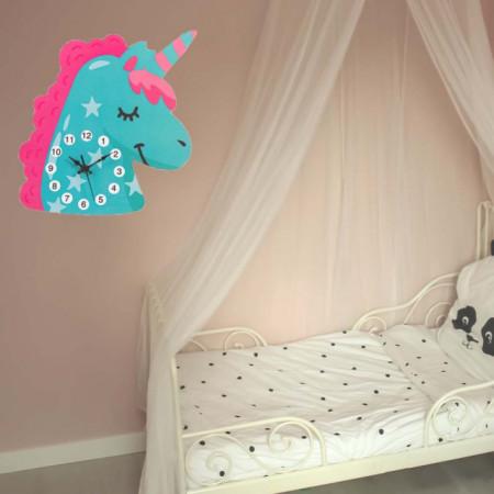 Ceas de perete pentru copii in forma de unicorn, Pufo