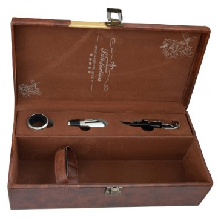 Cutie cadou tip cufar pentru vin, model Premium cu maner si accesorii incluse, maro