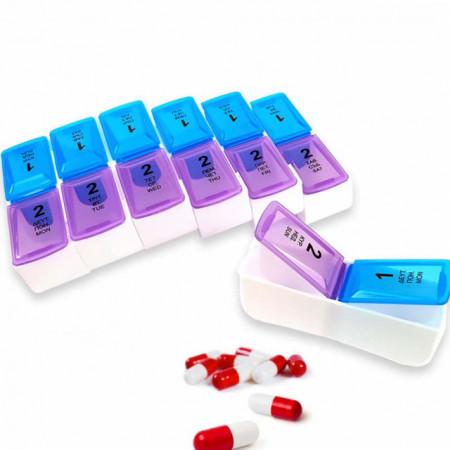 Cutie organizator medicamente pe saptamana cu doua compartimente pe zi, albastru cu mov, Pufo