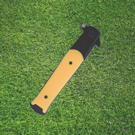Cutit briceag de buzunar 22.5 cm, model Gentle Yellow Slim cu lama stilet si sistem blocare lama