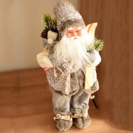 Figurina decorativa Mos Craciun, gri, 46 cm