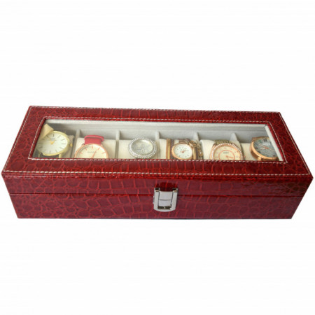 Oferta! Caseta eleganta depozitare cu compartimente pentru 6 ceasuri, imprimeu crocodil rosu + 6 ceasuri de dama