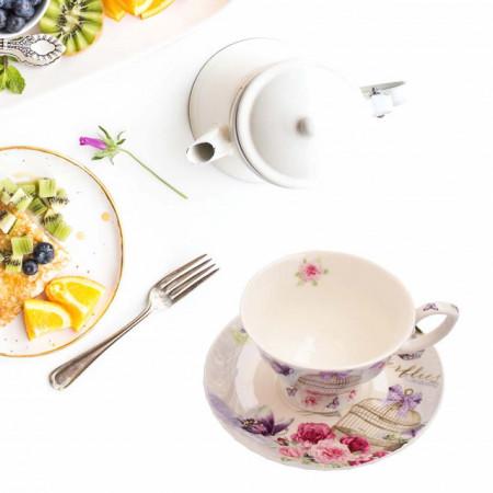 Set 2 cesti cu farfurioara Pufo Ellegance pentru cafea sau ceai, portelan