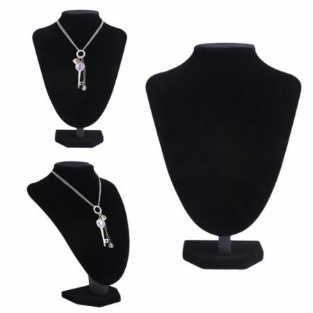 Suport stativ tip bust Pufo pentru prezentare bijuterii din catifea, negru