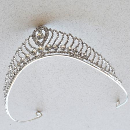 Tiara diadema eleganta pentru mireasa cu cristale acrilice, stil printesa