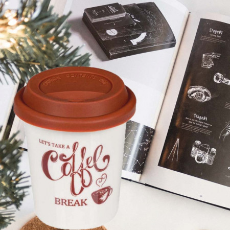Cana ceramica Pufo Coffee pentru cafea cu capac din silicon, 280 ml