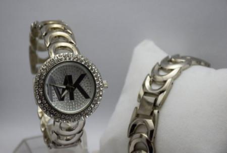 Ceas elegant de dama Shine Crystal bratara metalica, argintiu