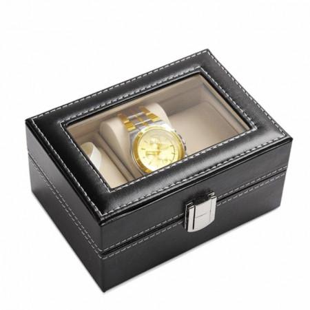 Cutie caseta eleganta depozitare cu compartimente pentru 3 Ceasuri