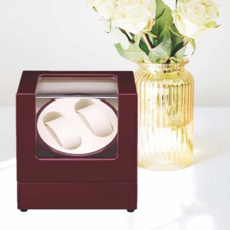 Cutie caseta Pufo Premium de prezentare si de intors ceasuri automatice, 2 locuri, bordo