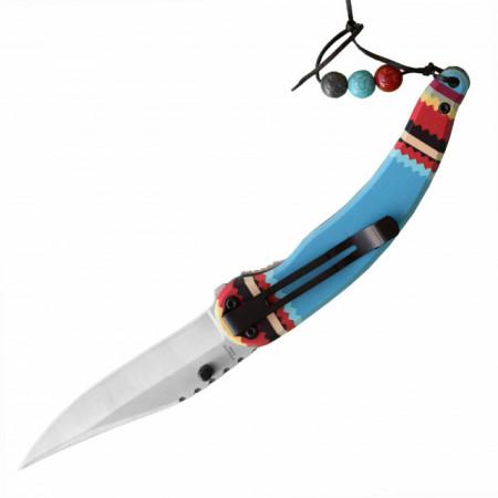 Cutit briceag de buzunar 22 cm, design deosebit cu maner pictat, albastru