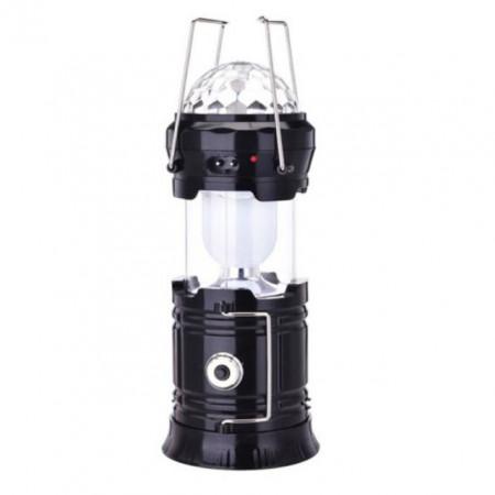 Felinar Led si RGB Disco cu Lanterna si USB, incarcare priza 220V + Panou Solar, negru