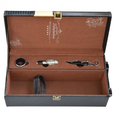 """Pachet cutie cadou tip cufar pentru vin, model Premium cu maner si accesorii incluse, negru + sonerie receptie amuzanta """"Ring for SEX"""""""