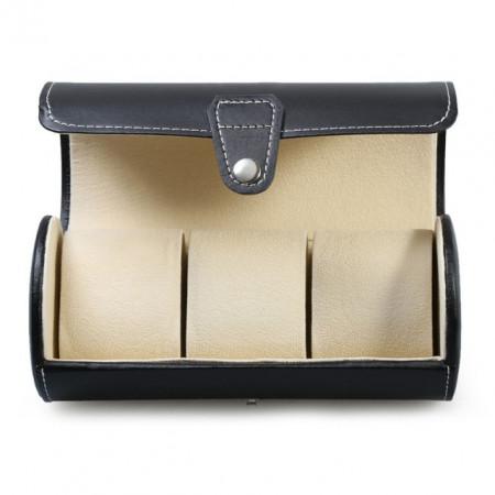 Pachet cutie caseta depozitare si transport pentru 3 ceasuri negru + ceas barbatesc elegant Benett