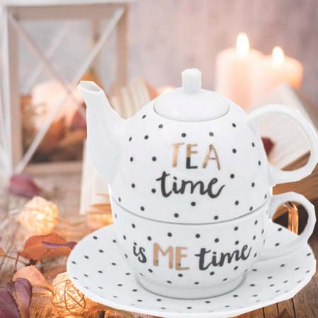 Set de ceai cu cana si farfurie Pufo de portelan, model cu buline negre