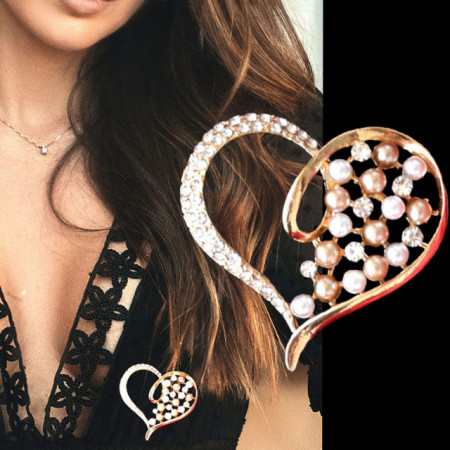 Brosa dama eleganta in forma de inima cu perle acrilice, Golden heart