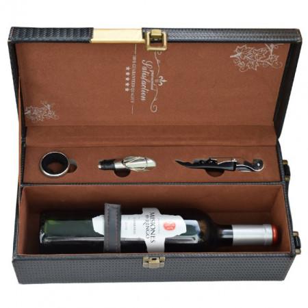 Cutie cadou tip cufar pentru vin, model Premium cu maner si accesorii incluse, negru