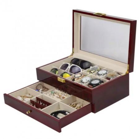 Cutie caseta din lemn pentru depozitare si organizare ceasuri, ochelari si bijuterii cu sertar, model Premium