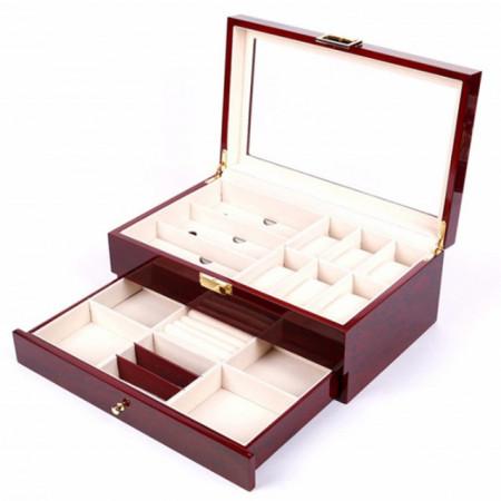 Cutie caseta din lemn pentru depozitare si organizare ceasuri, ochelari si bijuterii, model Pufo Glossy etajat cu sertar, visiniu