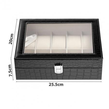 Cutie caseta eleganta depozitare cu compartimente pentru 10 ceasuri, imprimeu crocodil, negru