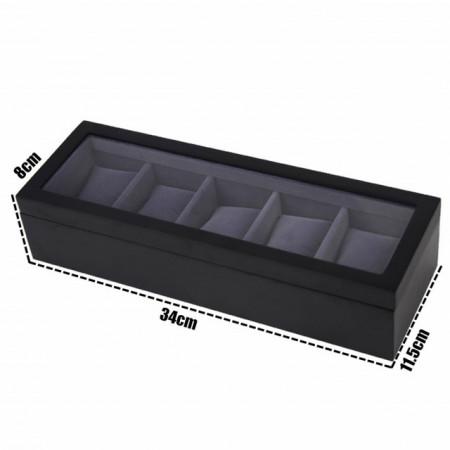 cutie caseta 5 ceasuri cu geam si interior catifea