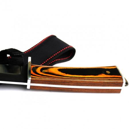 Cutit de vanatoare FULL TANG 31 cm, teaca material textil, model Black Wolf