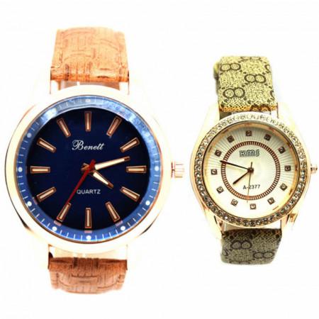 Pachet ceas barbatesc elegant Benett auriu, curea maro deschis + ceas elegant de dama Lost Queen