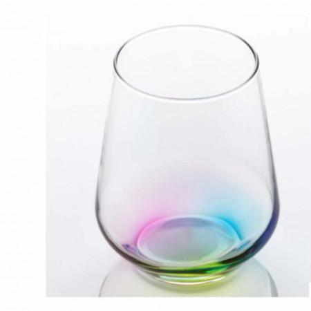 Pahar apa, suc, racoritoare cu fund curcubeu, sticla, 425 ml, Pufo