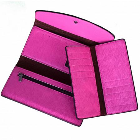 Portofel elegant de dama cu suport detasabil de bancnote si carduri, roz