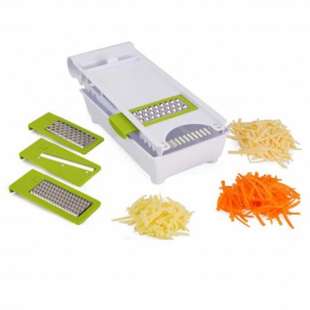 Razatoare multifunctionala pentru legume si fructe 6 in 1, inox/plastic, alb/verde, Pufo