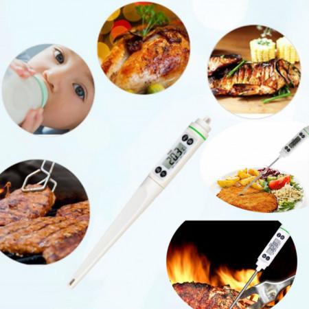 Termometru digital cu sonda pentru bucatarie, lichide, alimente, carne, lactate, prajituri, ceara etc. -50° C - +350° C, model PREMIUM, alb