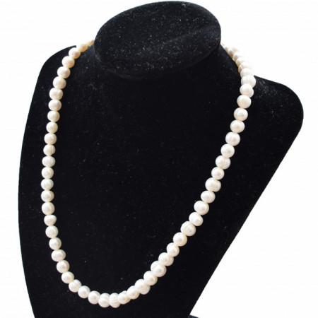 colier perle de cultura naturale albe