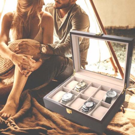 Cutie caseta din lemn pentru depozitare si organizare 10 ceasuri, model Pufo Premium, maro inchis