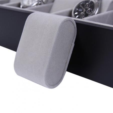 Cutie caseta din lemn pentru depozitare si organizare 12 ceasuri, model Pufo Premium, negru