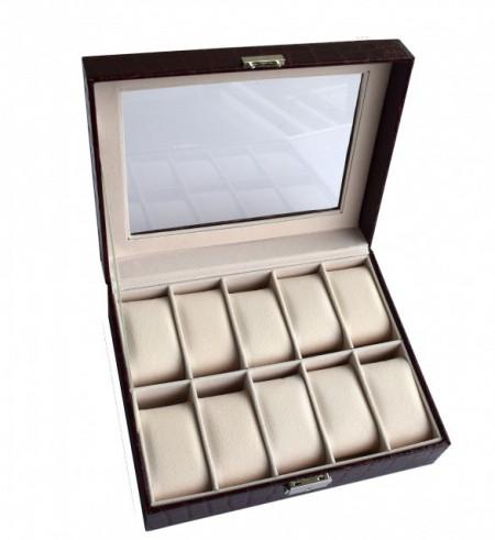 Cutie caseta eleganta depozitare cu compartimente pentru 10 ceasuri, imprimeu crocodil, model Premium cu cheita, negru, Pufo