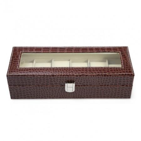 Cutie caseta eleganta depozitare cu compartimente pentru 6 ceasuri, imprimeu crocodil, maro