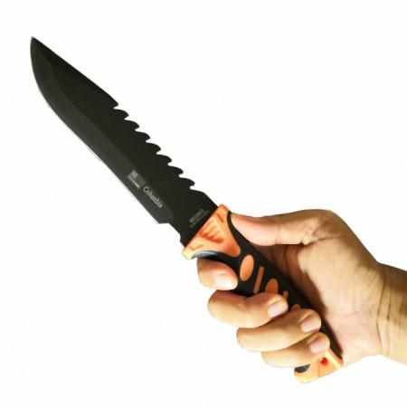 Cutit de vanatoare 32 cm, maner ergonomic - cauciuc texturat, teaca inclusa, negru cu portocaliu