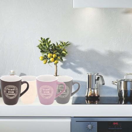 Set 4 cani pentru cafea, colorate, 350 ml, ceramica