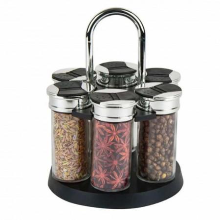 set 6 recipiente pentru mirodenii/condimente cu suport si maner