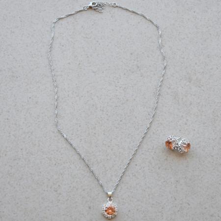 Set elegant argintiu, cercei si pandantiv cu piatra nuanta piersicii, Silver Peach