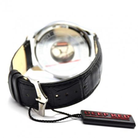 Ceas barbatesc elegant DEEP RED negru + cutie CADOU